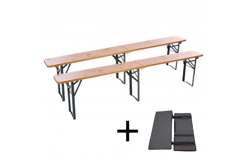 2x bank graz f r festzeltgarnitur inkl sitzkissen 220cm klappbar gebeizt ebay. Black Bedroom Furniture Sets. Home Design Ideas