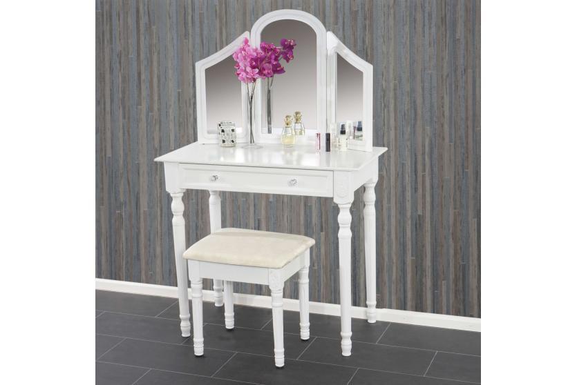 schminktisch mit hocker frisierkommode kosmetiktisch frisiertisch jette wei ebay. Black Bedroom Furniture Sets. Home Design Ideas