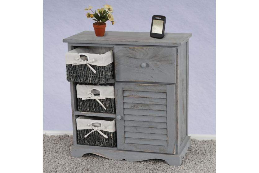 kommode schrank mit 3 k rben 63x60x30cm shabby look vintage grau ebay. Black Bedroom Furniture Sets. Home Design Ideas