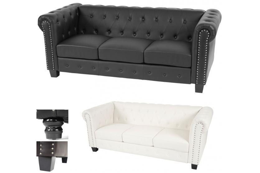 luxus 3er sofa chesterfield loungesofa couch kunstleder runde oder eckige f e. Black Bedroom Furniture Sets. Home Design Ideas