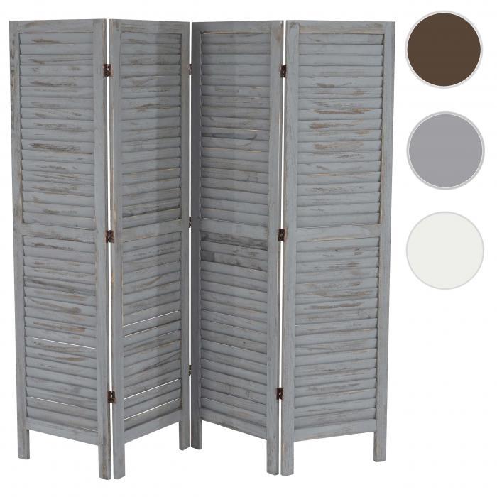 Paravent raumteiler 170x182x2cm shabby look vintage grau for Paravent interieur gifi
