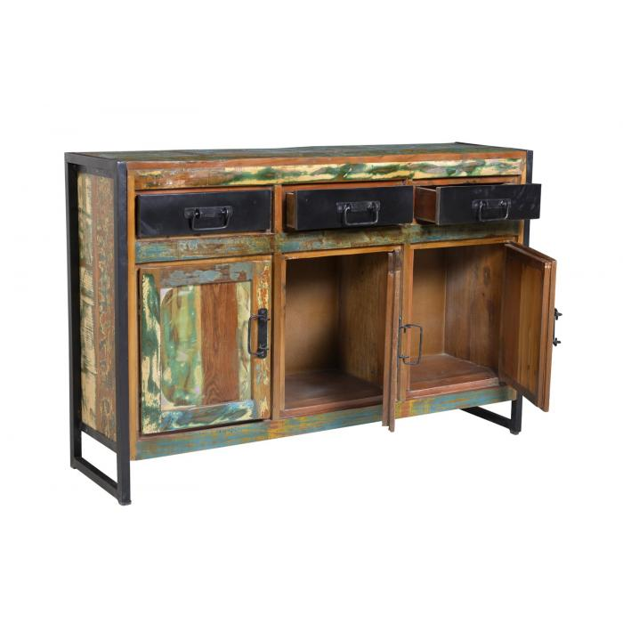Kommode S09, Schrank Sideboard, recyceltes Altholz, tropisches factory design, 85x130x35 cm