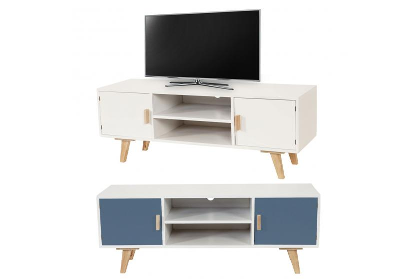 lowboard malm t260 tv rack fernsehtisch retro design 120x45x40cm wei blau ebay. Black Bedroom Furniture Sets. Home Design Ideas