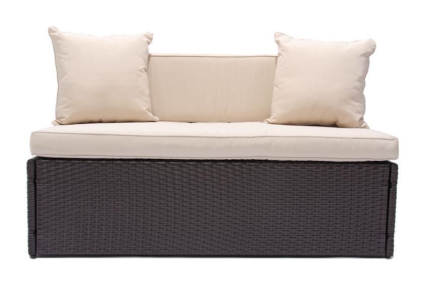 modulares poly rattan 2er sofa rom ohne armlehnen braun meliert ebay. Black Bedroom Furniture Sets. Home Design Ideas