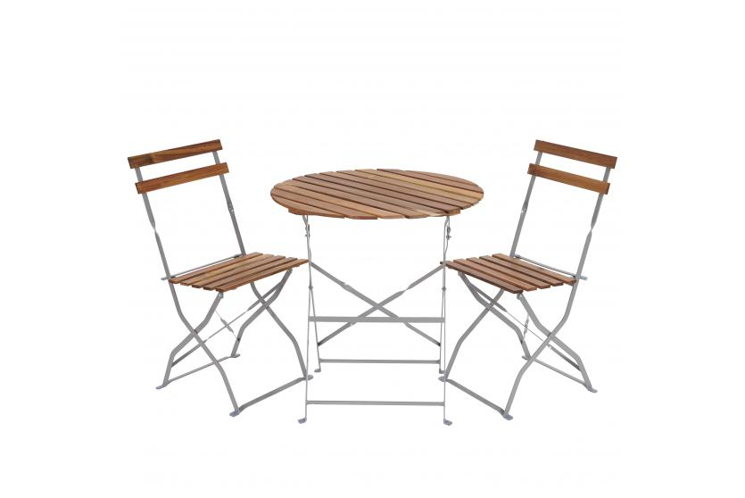 biergarten garnitur meran akazie ge lt natur bistro set tisch st hle ebay. Black Bedroom Furniture Sets. Home Design Ideas