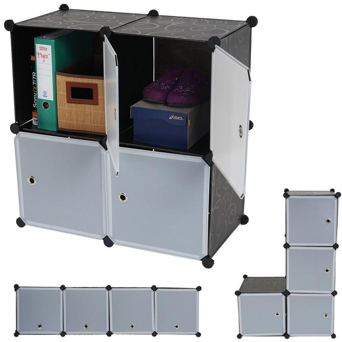 regalsystem sydney t307 steckregal schrank aufbewahrung 4 boxen je 36x36x36cm schwarz. Black Bedroom Furniture Sets. Home Design Ideas