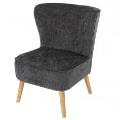 Sessel Malm� T313, Loungesessel Polstersessel, Retro 50er Jahre Design ~ grau, Textil