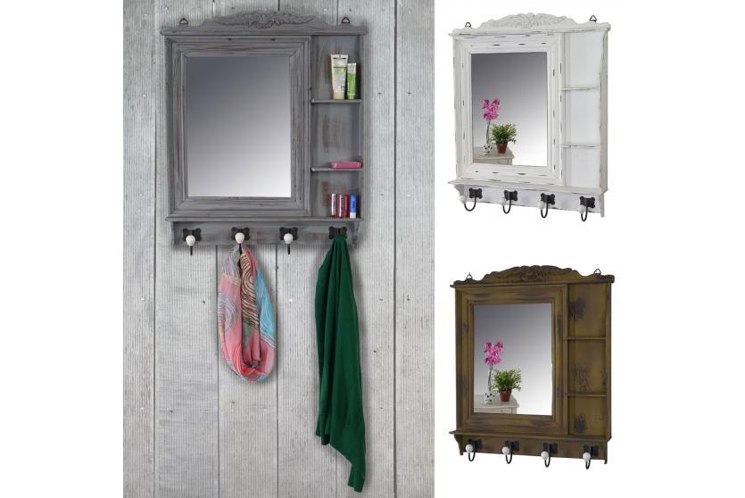 garderobe kanata wandgarderobe mit spiegel 75x63x9cm shabby look vintage ebay. Black Bedroom Furniture Sets. Home Design Ideas