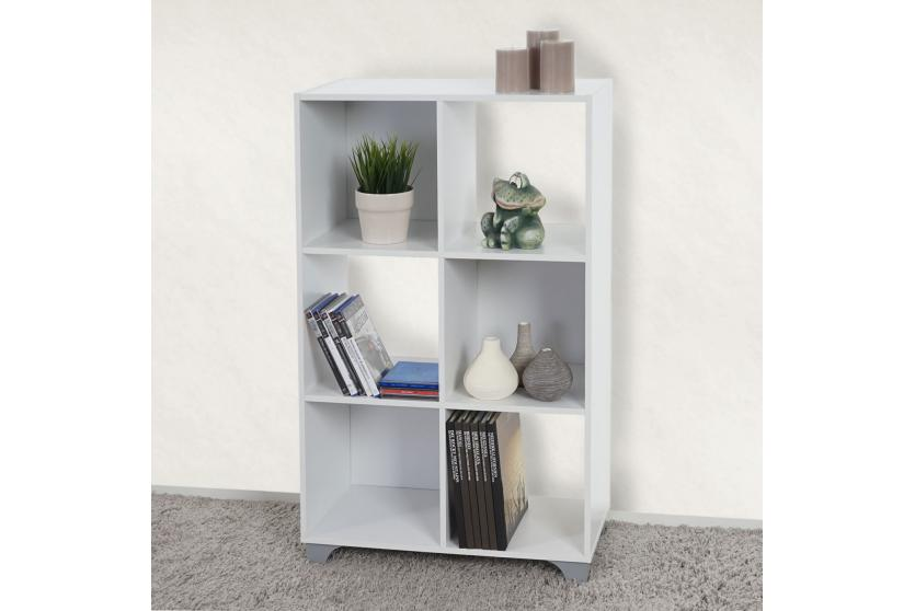 regal h364 wei 6 f cher standregal b cherregal medienregal holzregal ebay. Black Bedroom Furniture Sets. Home Design Ideas