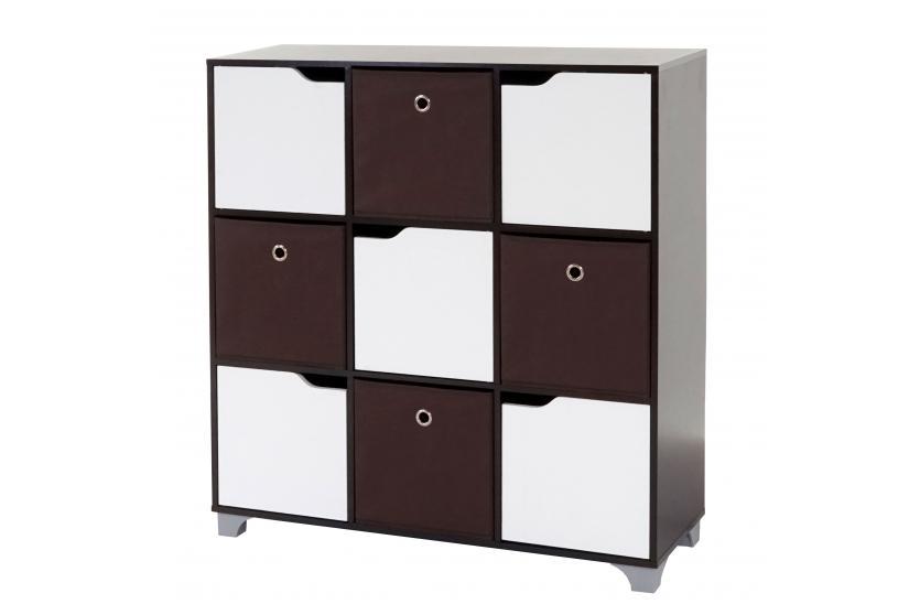 schrank h365 walnussbraun inkl 4 faltboxen braun standregal holzregal. Black Bedroom Furniture Sets. Home Design Ideas