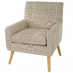 Sessel Malm� T370, Loungesessel Polstersessel, Retro 50er Jahre Design, Textil ~ beige/braun