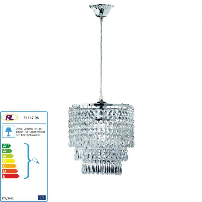 Reality|Trio LED-Pendelleuchte, 25cm H=35cm, 5W-LED, EEK A+ ~ Chrom/Klar