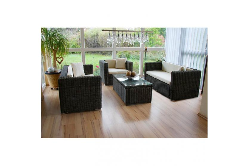 Luxus poly rattan sofa garnitur romv 2 2 sessel grau rundes rattan ebay Rattan sofa grau