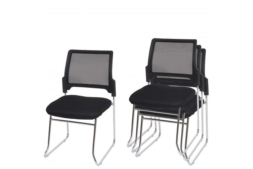 4x konferenzstuhl br ssel besucherstuhl stapelbar textil r ckenlehne schwarz ebay. Black Bedroom Furniture Sets. Home Design Ideas