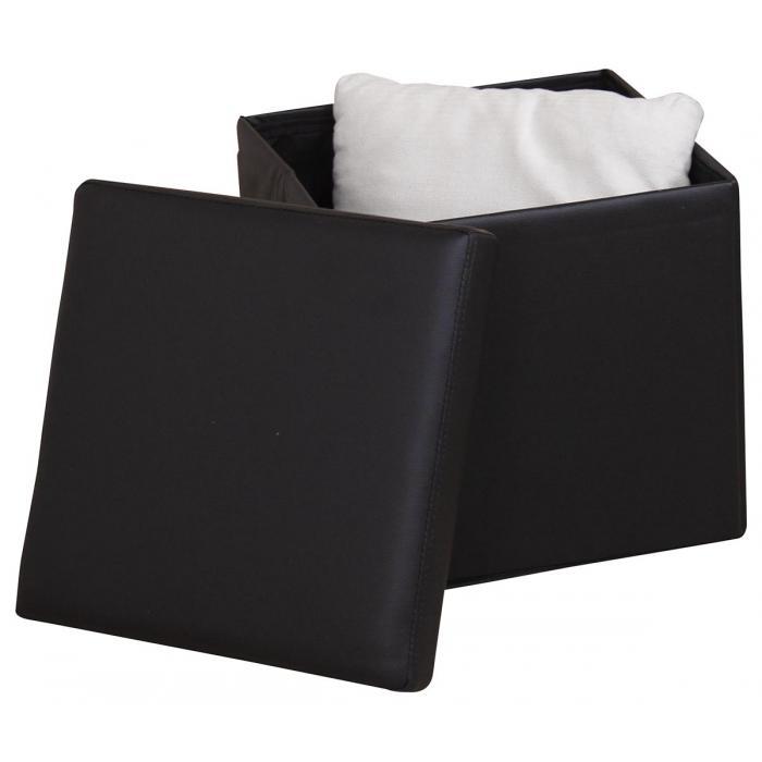 sitzhocker h108 sitzw rfel hocker mit deckel faltbar kunstleder schwarz. Black Bedroom Furniture Sets. Home Design Ideas