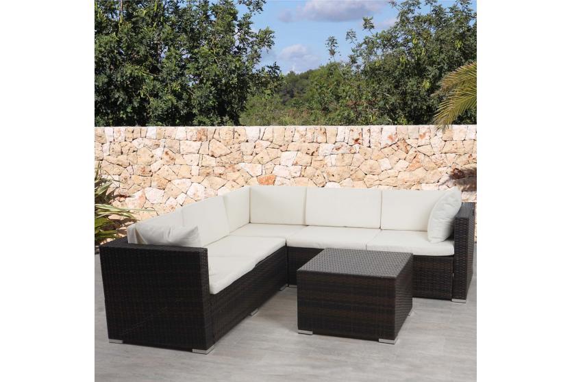 poly rattan sofa garnitur rom basic sitzgruppe lounge set alu stahl. Black Bedroom Furniture Sets. Home Design Ideas