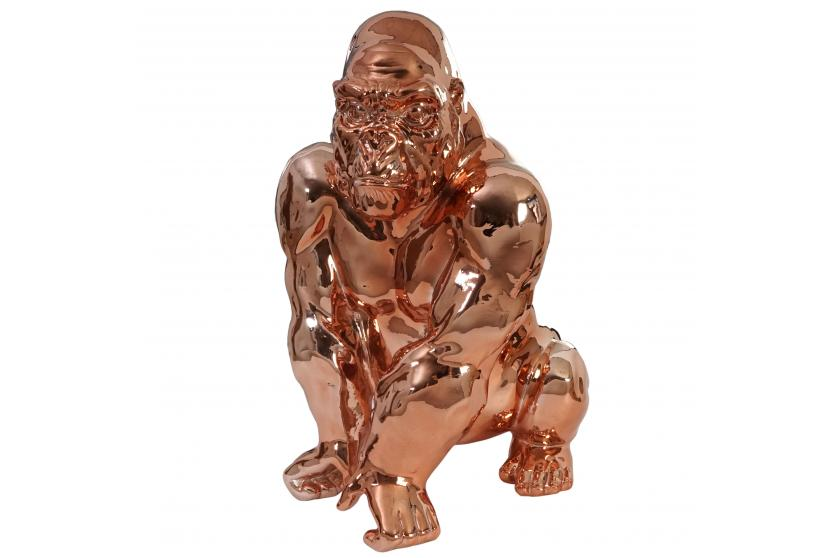 deko figur gorilla 40cm polyresin skulptur affe in outdoor kupfer ebay. Black Bedroom Furniture Sets. Home Design Ideas