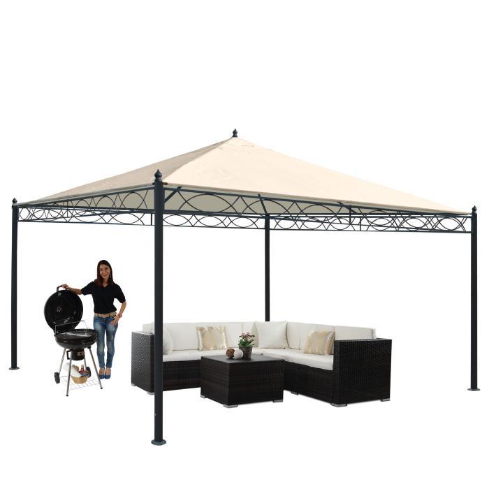 pergola cadiz garten pavillon terrassen berdachung stabiles 7cm gestell creme 4x4m. Black Bedroom Furniture Sets. Home Design Ideas