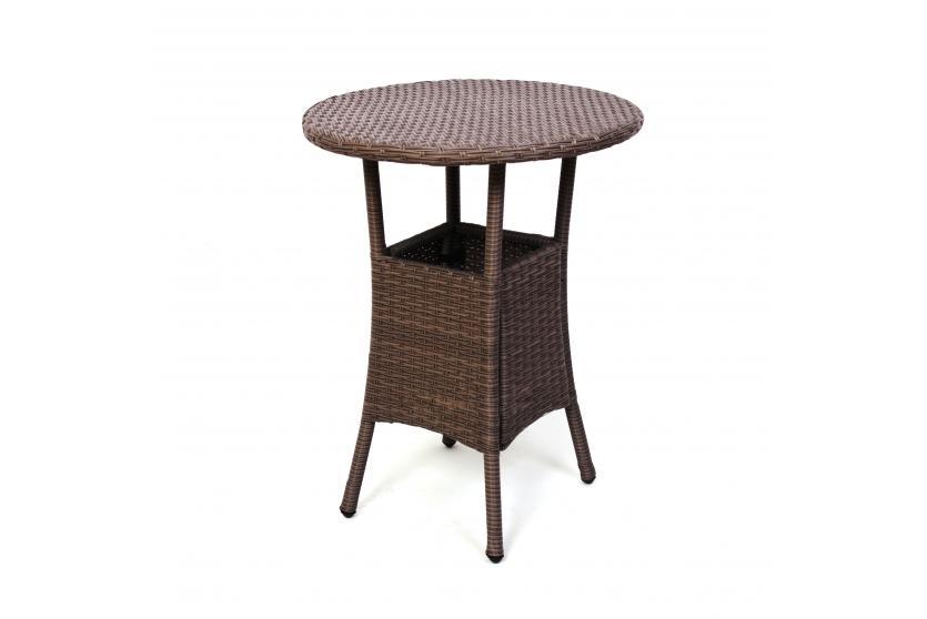 Gartentisch beistelltisch romv poly rattan rund 75x60cm for Rattan beistelltisch