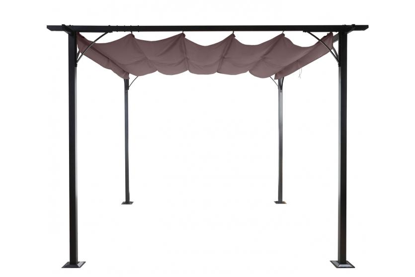 pergola adra garten pavillon 6cm gestell schiebedach 3x3m grau. Black Bedroom Furniture Sets. Home Design Ideas