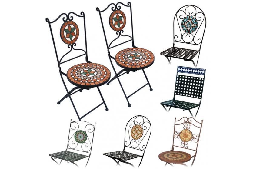2x mosaikstuhl gartenstuhl bistrostuhl klappbar metall ebay. Black Bedroom Furniture Sets. Home Design Ideas