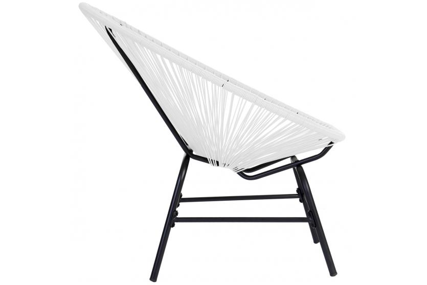 2x poly rattan gartensessel suzano spaghetti stuhl 70er retro wei ebay. Black Bedroom Furniture Sets. Home Design Ideas