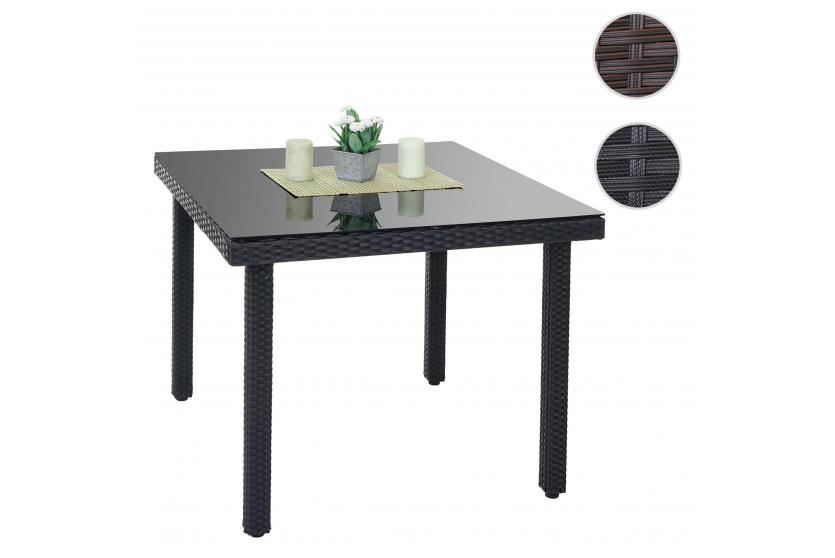 poly rattan gartentisch cava esstisch tisch mit glasplatte 90x90x74cm ebay. Black Bedroom Furniture Sets. Home Design Ideas