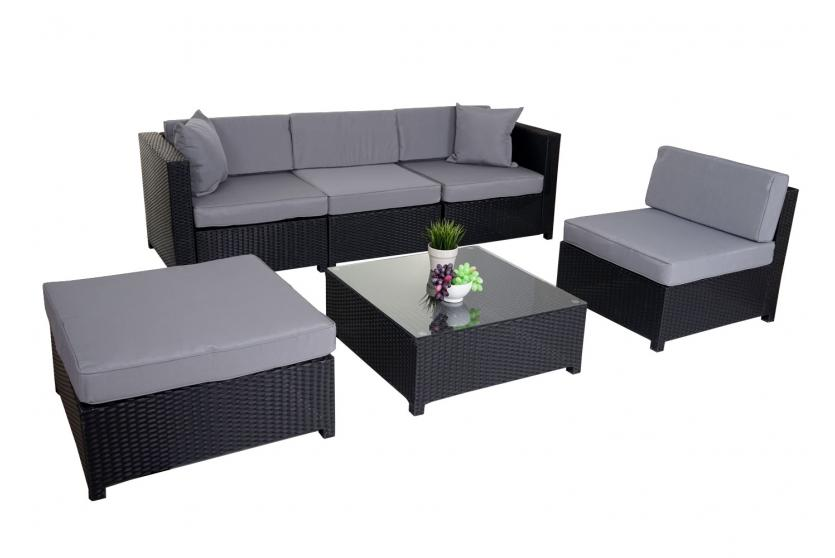 poly rattan garnitur gela sitzgruppe lounge set alu anthrazit kissen hellgrau ebay. Black Bedroom Furniture Sets. Home Design Ideas