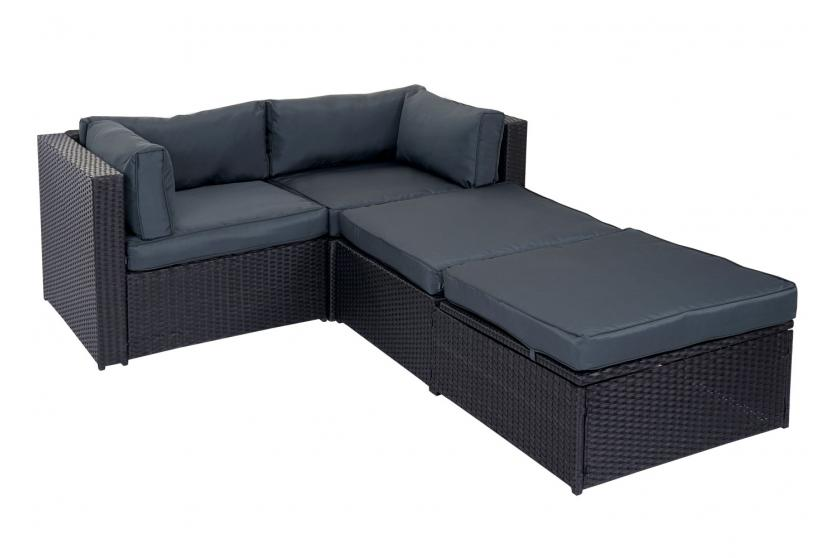 poly rattan garnitur adana gartengarnitur lounge set alu schwarz kissen grau ebay. Black Bedroom Furniture Sets. Home Design Ideas