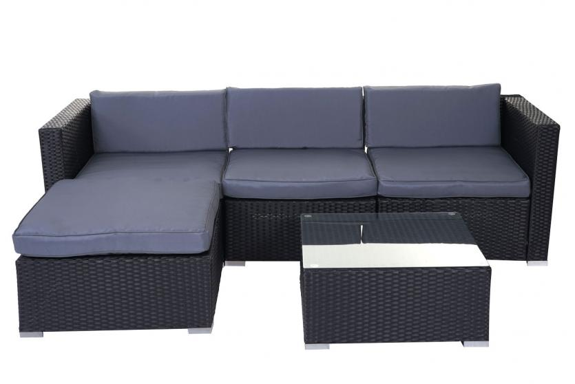 gartengarnitur brindisi lounge set poly rattan garnitur schwarz kissen grau ebay. Black Bedroom Furniture Sets. Home Design Ideas