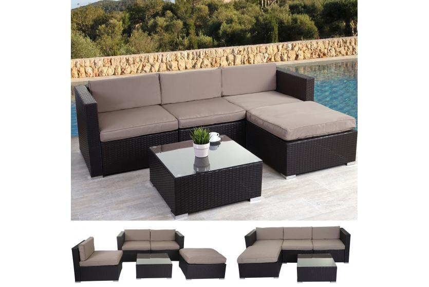 set da giardino brindisi lounge set poly rattan set marrone cuscino beige ebay. Black Bedroom Furniture Sets. Home Design Ideas
