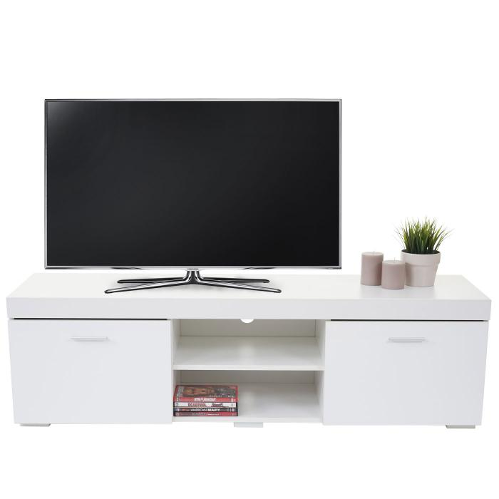 tv rack portland fernsehtisch lowboard hochglanz 140x40x40cm wei. Black Bedroom Furniture Sets. Home Design Ideas