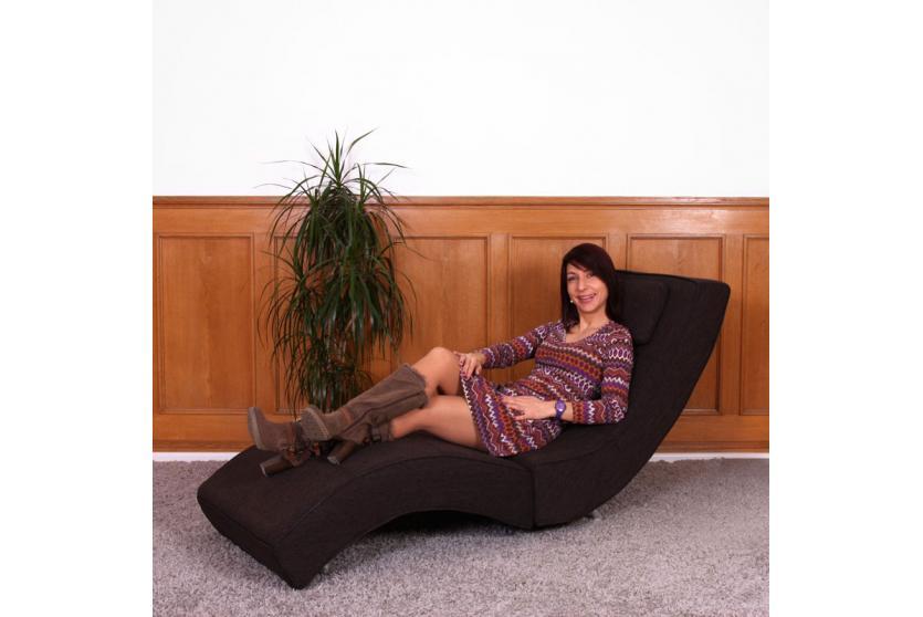 Relaxliege Chaiselongue Recamiere Livorno Textil in schwarz-braun ...