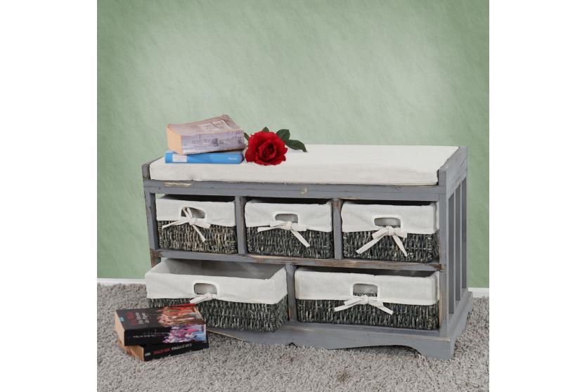 kommode und sitzbank mit 5 schubladen 77x45x36cm shabby look vintage grau ebay. Black Bedroom Furniture Sets. Home Design Ideas