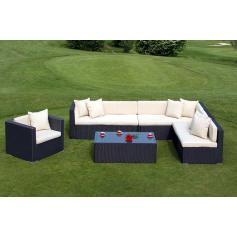 Poly-Rattan Alu-Sofa-Garnitur RomV, 2+2+1+1+ Sessel ~ anthrazit