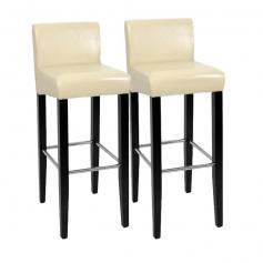 2x barstuhl barhocker n25 holz leder creme schwarz. Black Bedroom Furniture Sets. Home Design Ideas