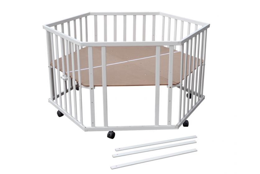 baby laufstall laufgitter 6 eckig inkl einlage wei lackiert h henverstellbar ebay. Black Bedroom Furniture Sets. Home Design Ideas