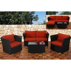 2-1-1 Sofa-Garnitur Siena Poly-Rattan, modulare Gastronomie-Qualit�t ~ anthrazit, Kissen in bordeaux