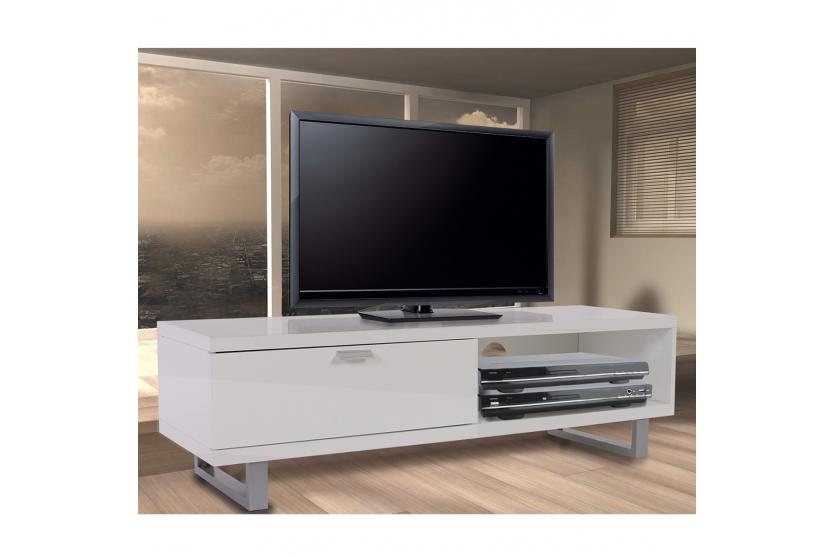 tv rack fernsehtisch tv lowboard tv regal wei hochglanz 118x35x39 cm ebay. Black Bedroom Furniture Sets. Home Design Ideas