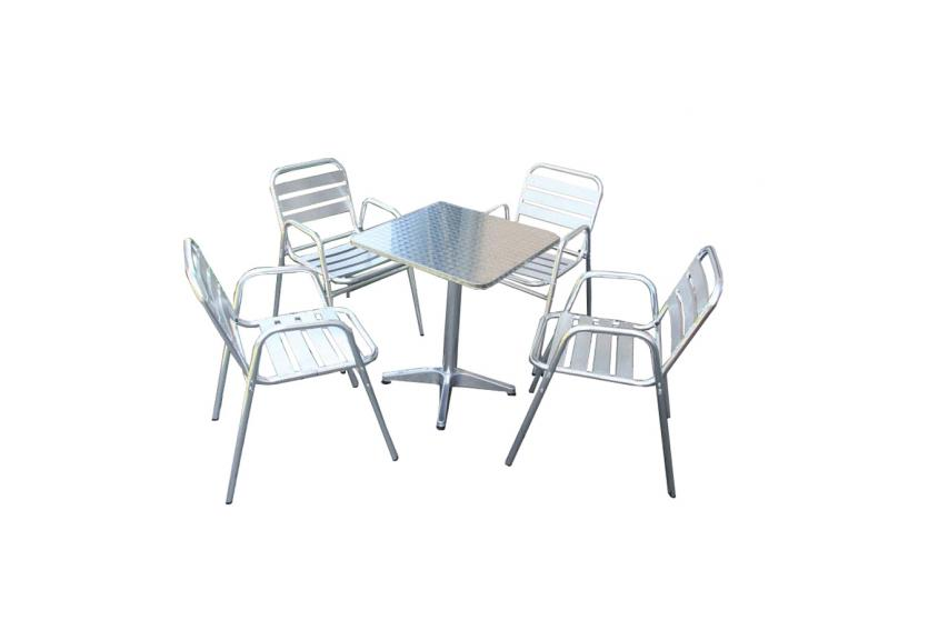 bistro garnitur garten sitzgruppe sitzgruppe aluminium stapelbar. Black Bedroom Furniture Sets. Home Design Ideas