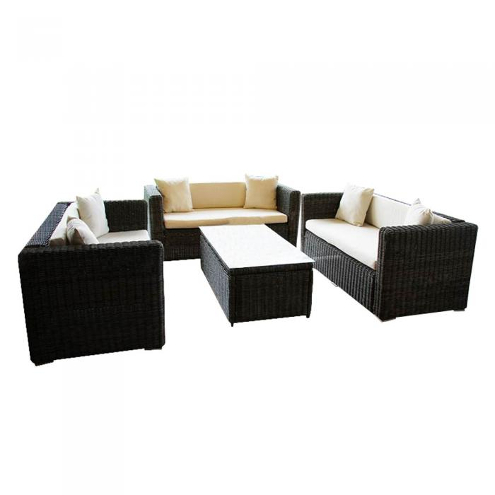luxus poly rattan alu sofa garnitur romv 2 2 2 grau. Black Bedroom Furniture Sets. Home Design Ideas