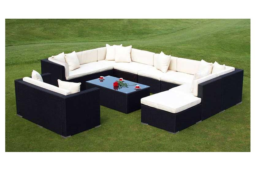 sofa garnitur romv poly rattan 11 pl tze anthrazit braun wei grau. Black Bedroom Furniture Sets. Home Design Ideas