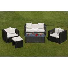 Poly-Rattan Alu-Sofa-Garnitur RomV, 2+1+2 Sessel ~ anthrazit