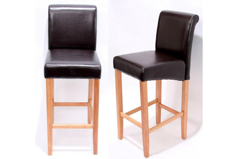2x barhocker lancy holz leder schwarz braun creme rot helle oder dunkle beine ebay. Black Bedroom Furniture Sets. Home Design Ideas