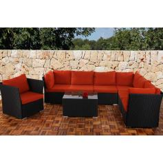 6-1 Sofa-Garnitur Siena Poly-Rattan, modulare Gastronomie-Qualit�t ~ anthrazit, Kissen in bordeaux