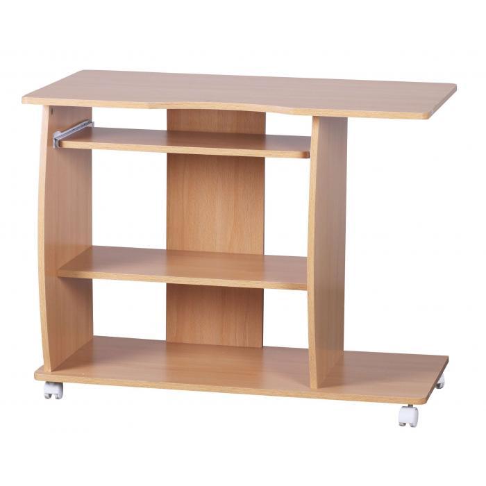 computertisch a069 schreibtisch b rotisch mit rollen 90x71x50cm buche. Black Bedroom Furniture Sets. Home Design Ideas