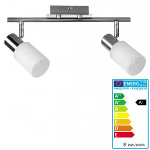 LED Deckenspot A144, Deckenleuchte Deckenlampe, 8W-LED, EEK A+, 2 flammig, nickel matt