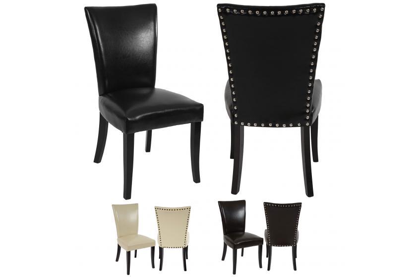 2x esszimmerstuhl chesterfield stuhl nieten beschichtetes leder kunstleder ebay. Black Bedroom Furniture Sets. Home Design Ideas