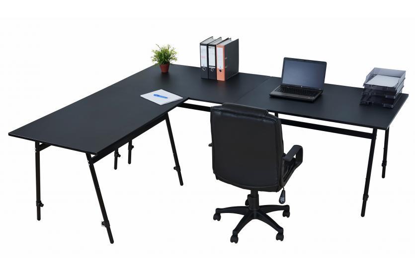 schreibtisch arbeitstisch canbera h henverstellbar 240x200x80cm schwarz ebay. Black Bedroom Furniture Sets. Home Design Ideas