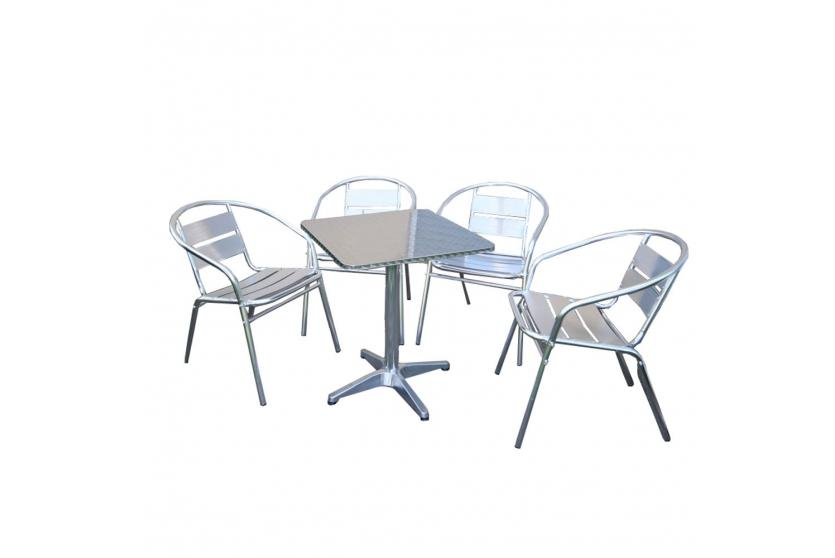 bistro garnitur garten sitzgruppe aluminium stapelbar ebay. Black Bedroom Furniture Sets. Home Design Ideas